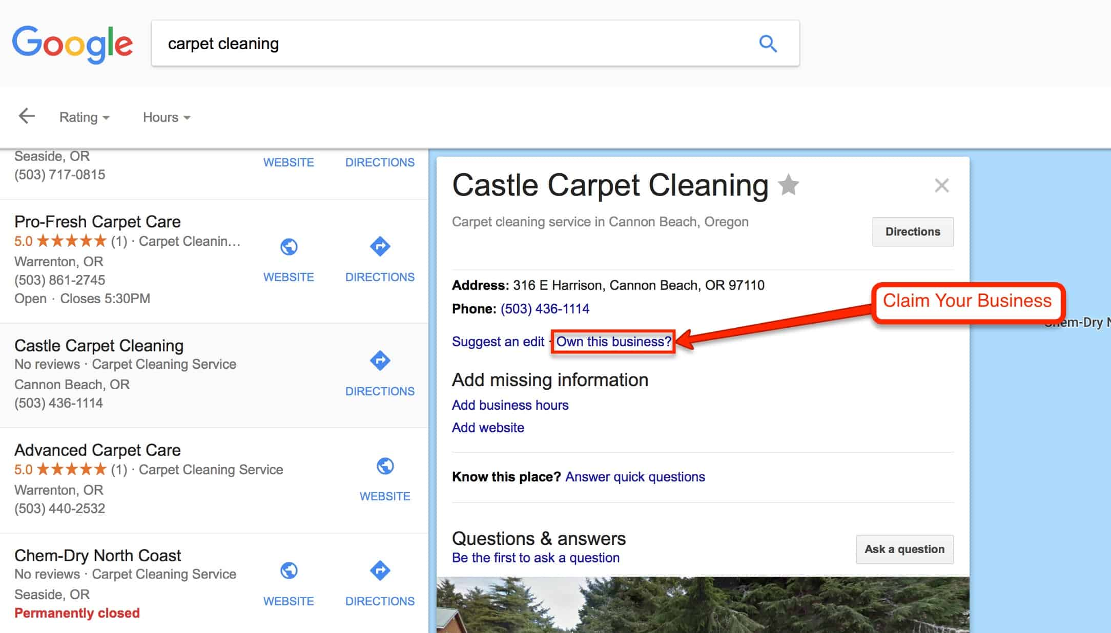 a picture of claiming your google business listing