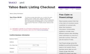 A picture of claim your free yahoo business listing